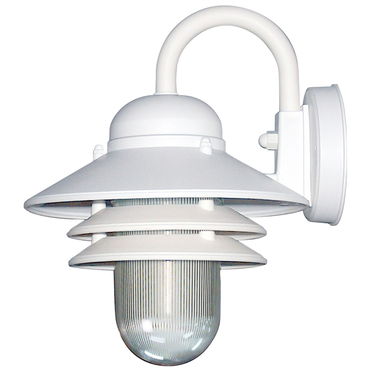 Sunlite 47202-SU DOD/NC/WH/CL/MED Decorative Outdoor Nautical Collection Polycarbonate Fixture, White Finish, Clear Lens