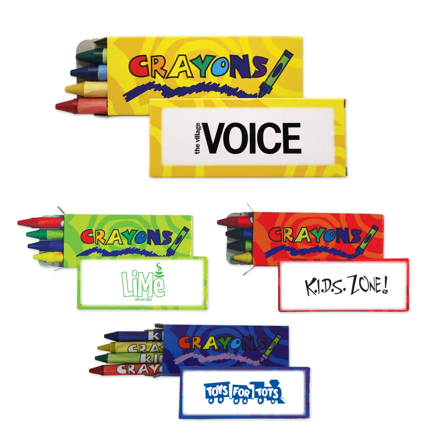 300 Personalized 4 Pack Standard Crayons Printed with Your Logo or Message