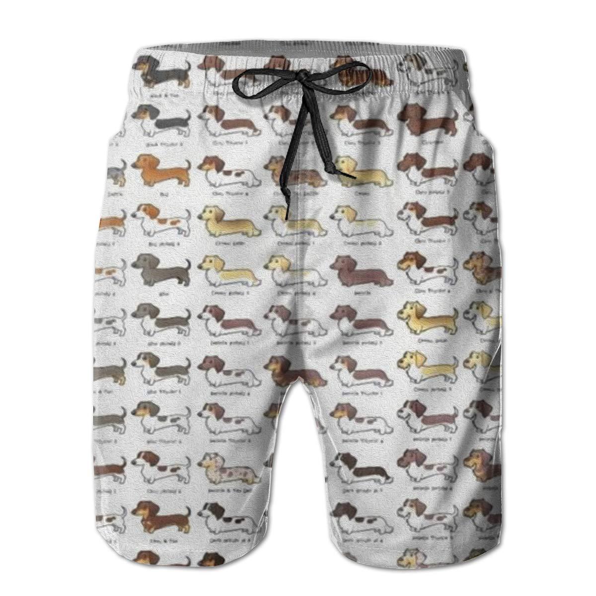 FUNSTYEET Dachshund Pattern Mens Board Shorts Swim Mesh Lining and Side Pocket White