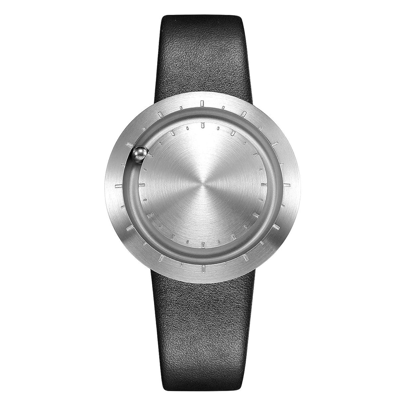 LAVARO modeuhren design uhren damen silber luxusuhren herren armbanduhr lederarmband schwarz