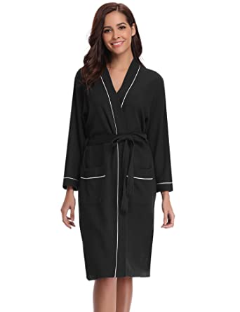 f2547b4e86 Aibrou Unisex Waffle Dressing Gown Cotton Lightweight Bath Robe for Spa  Hotel Sleepwear  Amazon.co.uk  Clothing