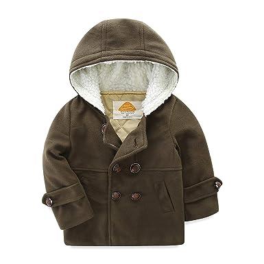 4dfc2d25a Amazon.com  Mud Kingdom Boys Dress Coats with Hood Faux Wool ...