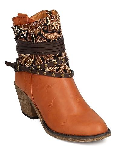 4336a0253d1a Nature Breeze Women Leatherette Paisley Wraparound Studded Cowboy Bootie  FF18 - Tan (Size  6.0