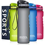 Invool Leakproof Sport Water Bottle 1 Litre, BPA Free Reusable Tritan Plastic Water Bottle with Filter, Wide Mouth & Secure Locking Lid for Hiking/Cycling/Running/Camping/Gym