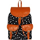 Lychee Bags Canvas/PU Debbie Backpack for Girls (Black)