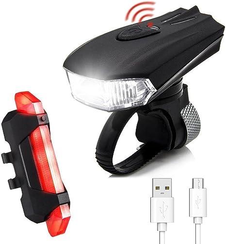 Luces de Bicicleta, SGODDE 400 lm Sensores LED 5 Modos, 2 USB de ...