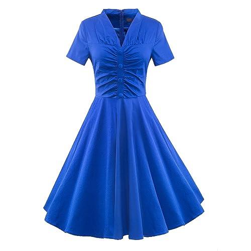 iLover Women 1950s Deep V-Neck Rockabilly Swing Party Vintage Dress