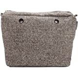 Sacca in cotone puntinato beige/brown per o bag mini