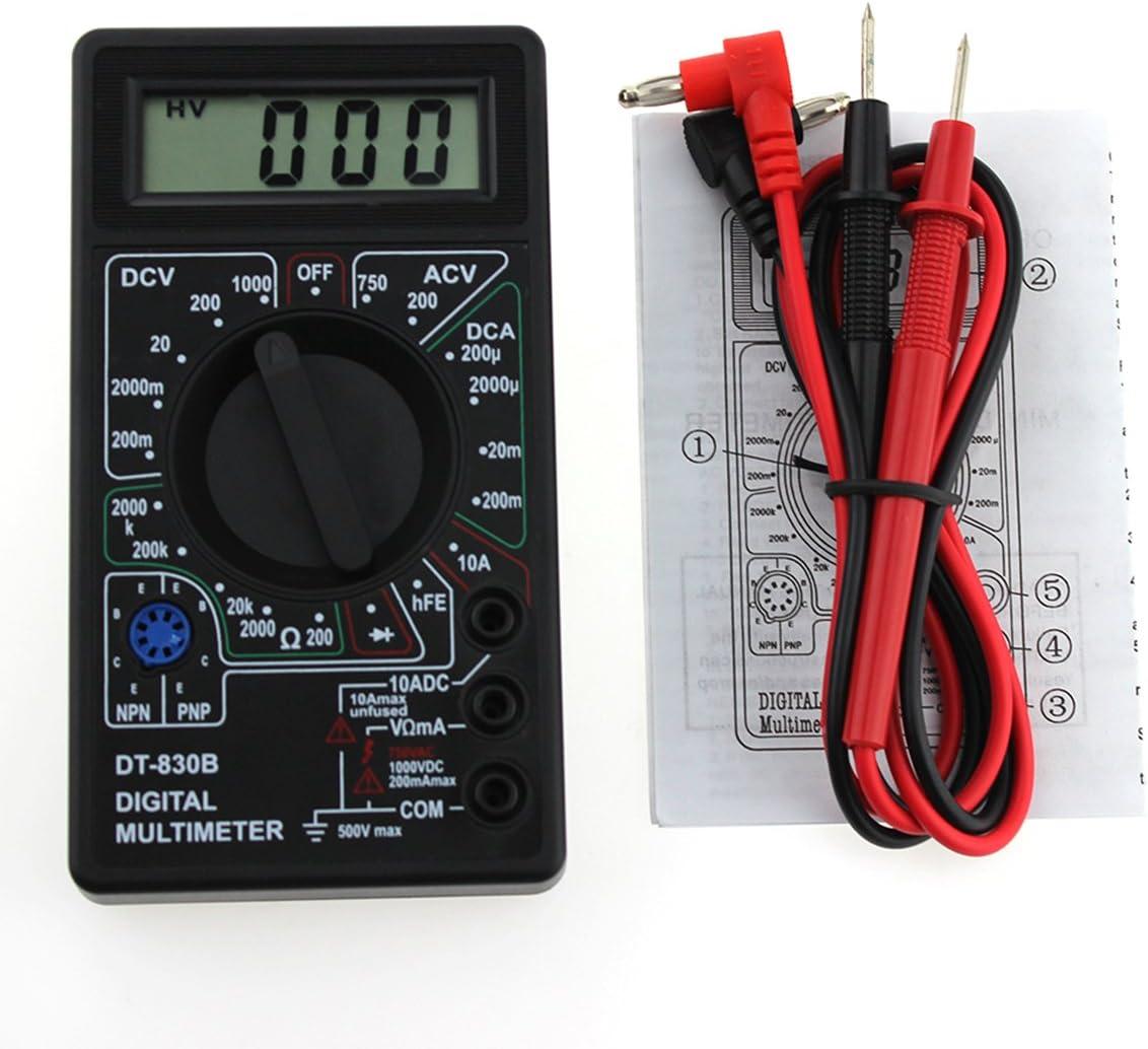 UEETEK Mult/ímetro Digital Autorango Autom/ático Volt/ímetro AC DC Amper/ímetro Ohm/ímetro Tester Negro