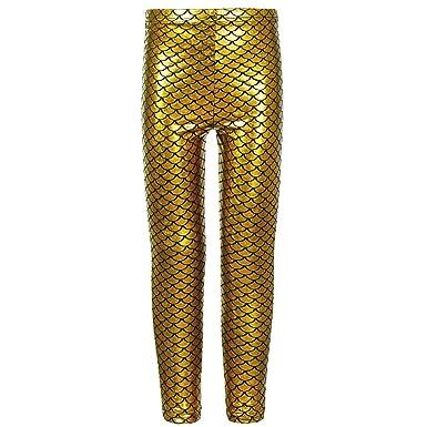 b6e622d83ca3a9 New Girls Kids Shiny Mermaid Mettalic Fish Scale Stretchy Skiny Disco Leggings  Pants Trousers Uk Size 5-13 Years: Amazon.co.uk: Clothing