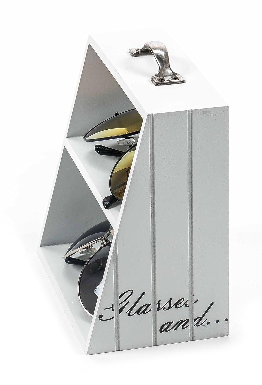 H/öhe ca 17 cm Brilleregal mit Griff und Schriftzug Vintage-Design Miniregal mit 2 Ebenen wei/ß