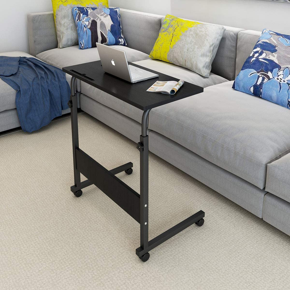 Natwind 31.5 Inches Height Adjustable Mobile Side Table with Tablet Slot & Wheels Movable Portable Workstation Laptop Computer Stand for Bed Sofa Black-A