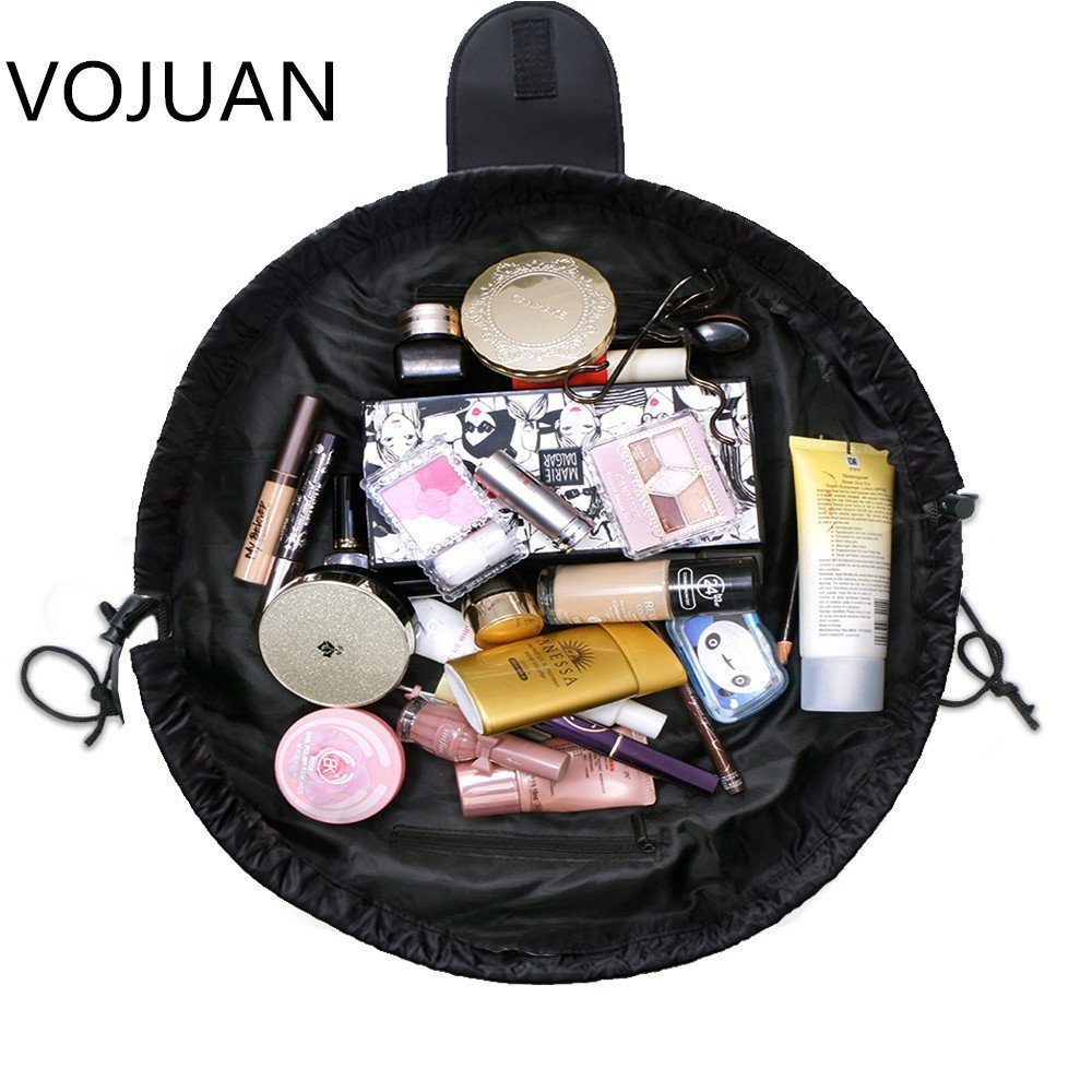 Fashion Cosmetic Bag Large Capacity Lazy Makeup Toiletry Bag Multifunction Storage Portable Quick Pack Waterproof Travel Bag (Black)
