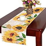 InterestPrint Sunflowers Cotton Table Runner Placemat 16 X 72 Inch, Sunny  Floral Table Linen Cloth