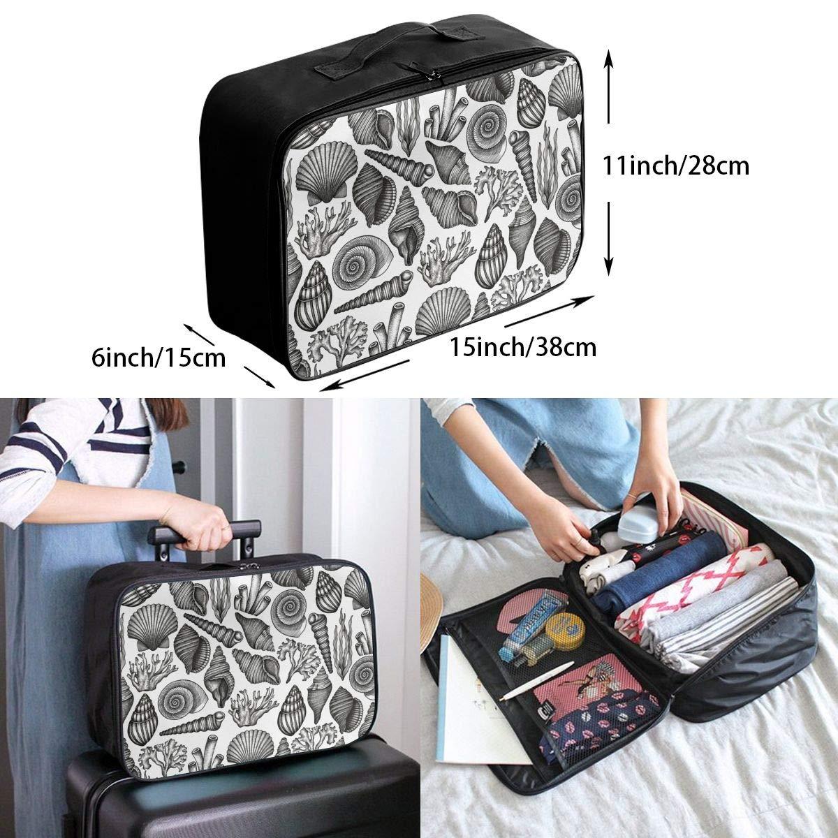 Travel Luggage Duffle Bag Lightweight Portable Handbag Shell Print Large Capacity Waterproof Foldable Storage Tote