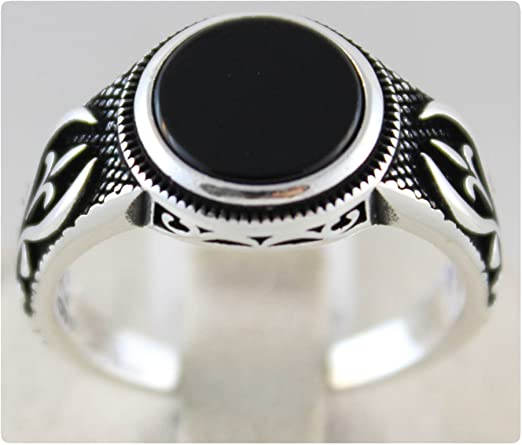 Gift for HimHer Onyx Ottoman Artwork Handmade Engraved Silver Ring With Stones 925 Turkish Sterling Silver