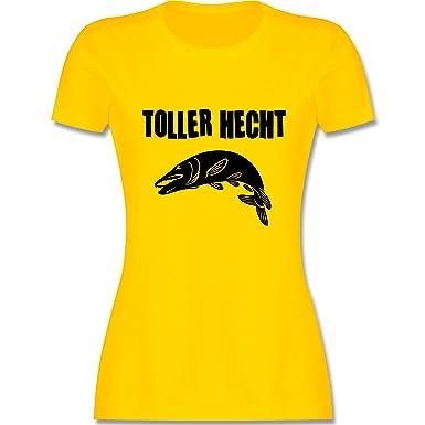 Angeln - Toller Hecht - S - Gelb - L191 - Damen T-Shirt Rundhals