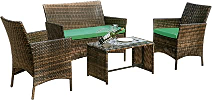4PCS Rattan Patio Conversation Sofa Set Wicker Outdoor Furniture w Cushion/&Table