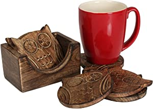 Wooden Coaster Holder Set For Drink Wooden Bar Coaster Tea Coffee Mug Tabletop Barware Drink Set of 4 Handmade Dining Home Decor (Owl)