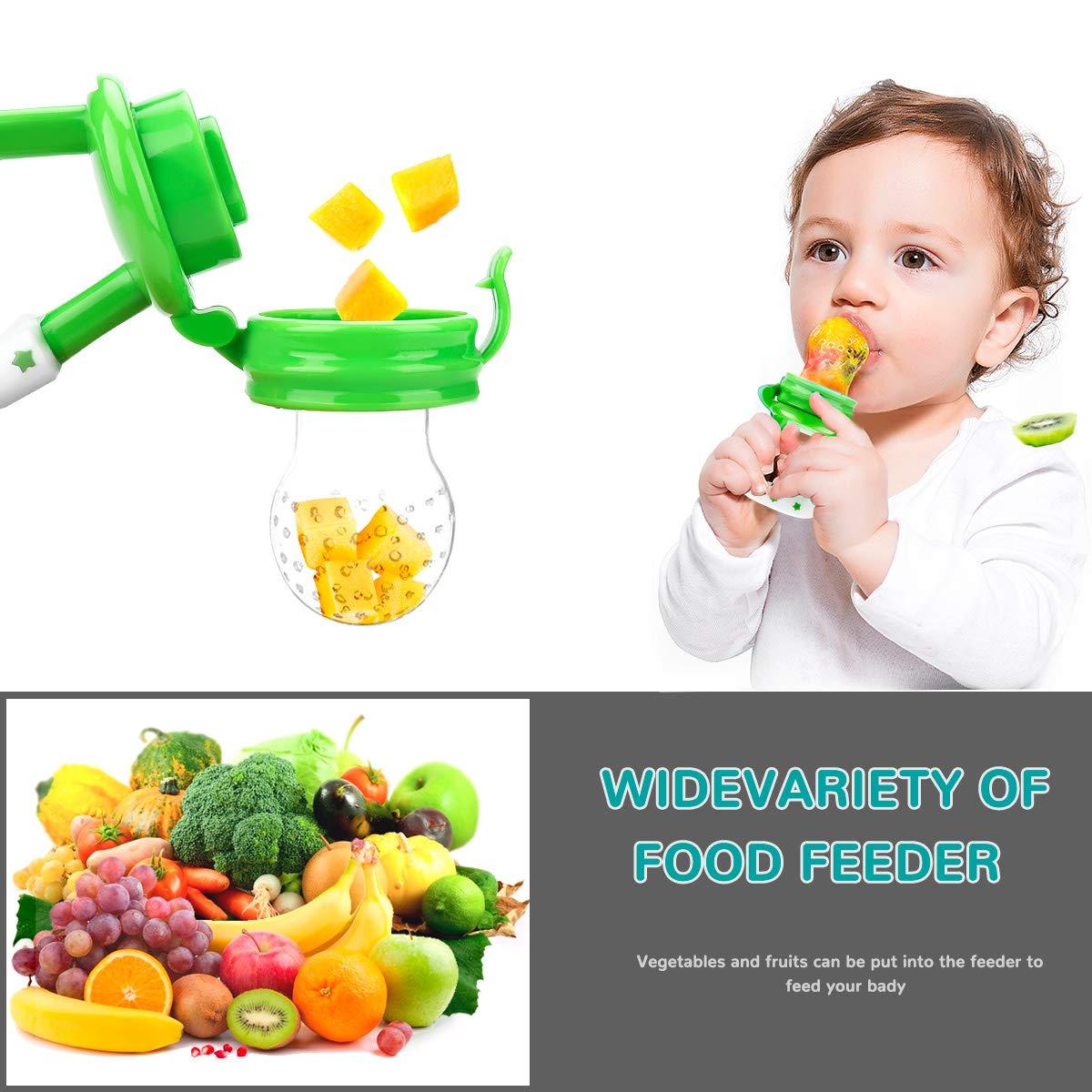 Rosa, Amarillo Limonada, Verde y Azul Paquete de 4 Juguetes de Dentici/ón Infantil Mordedor Alimentador de Chupete Suministros para Beb/és Juguetes Laelr Alimentador de Frutas para Beb/és
