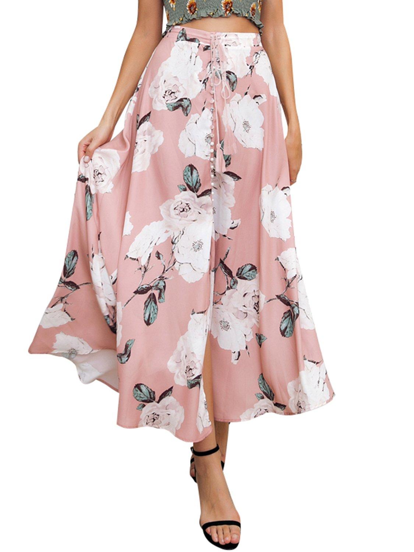 BerryGo Women's Boho Floral Button Up Skirt Summer Beach Skirt Pink,S