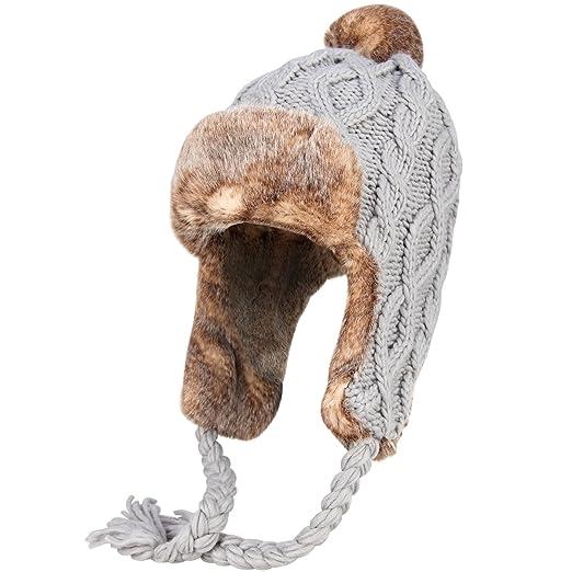 35e8fd823 OMECHY Womens Knit Peruvian Beanie Hat Winter Warm Wool Crochet Tassel Peru  Ski Hat Cap with Earflap Pom