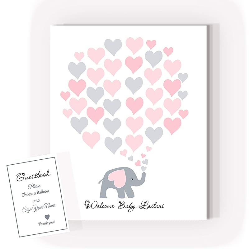Baby Shower Signature Guest Book Personalized Alternative Guest Book Elephant Baby Shower Signature Tree Yellow Elephant