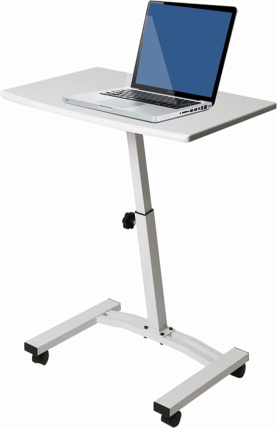 Seville Classics Height Adjustable Sitting Mobile Laptop Desk Cart Ergonomic Table Flat 23 6 Frost White Furniture Decor