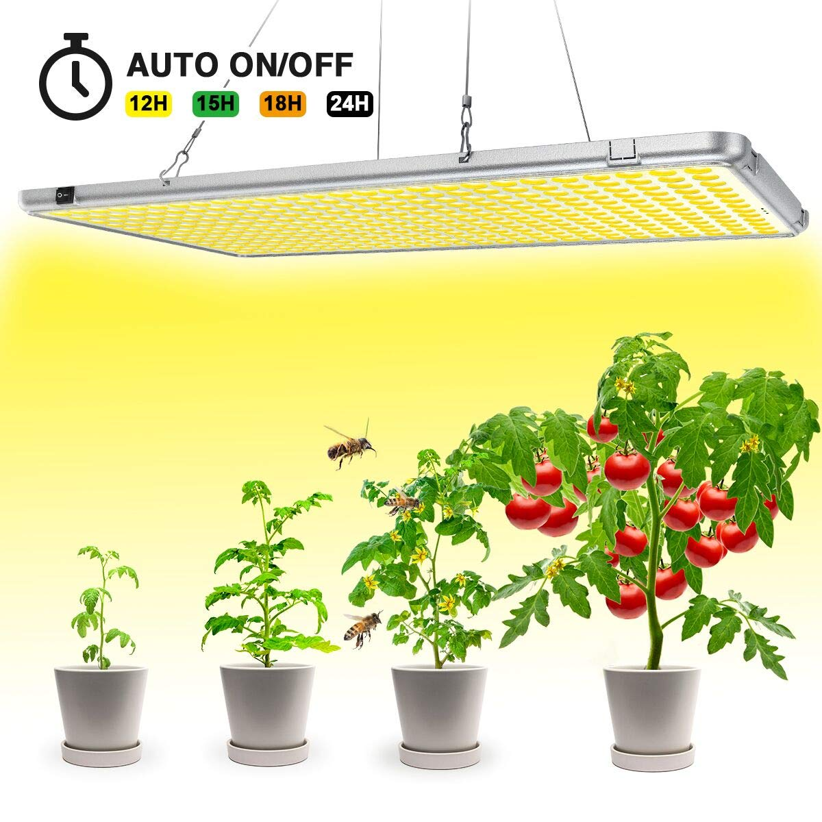 Bozily Led Grow Lights for Indoor Plants Full Spectrum 300W, Sunlike Plant Growing Light with Timer 12/15/18/24H Auto On Off for Indoor Plants Seedlings,Growing,Blooming and Fruiting Oversized 338Leds by Bozily