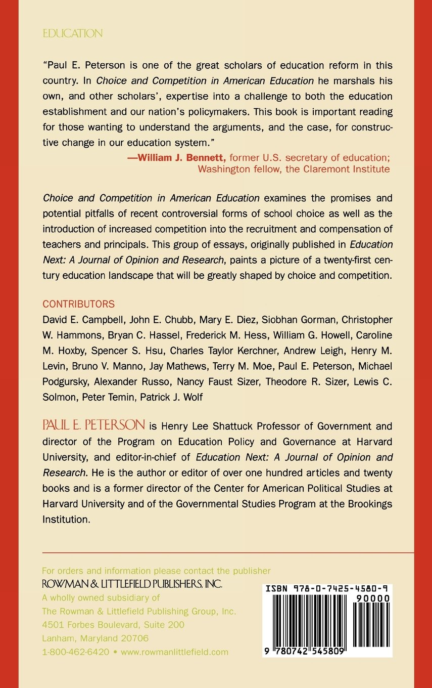 Choice and Competition in American Education: Paul E  Peterson