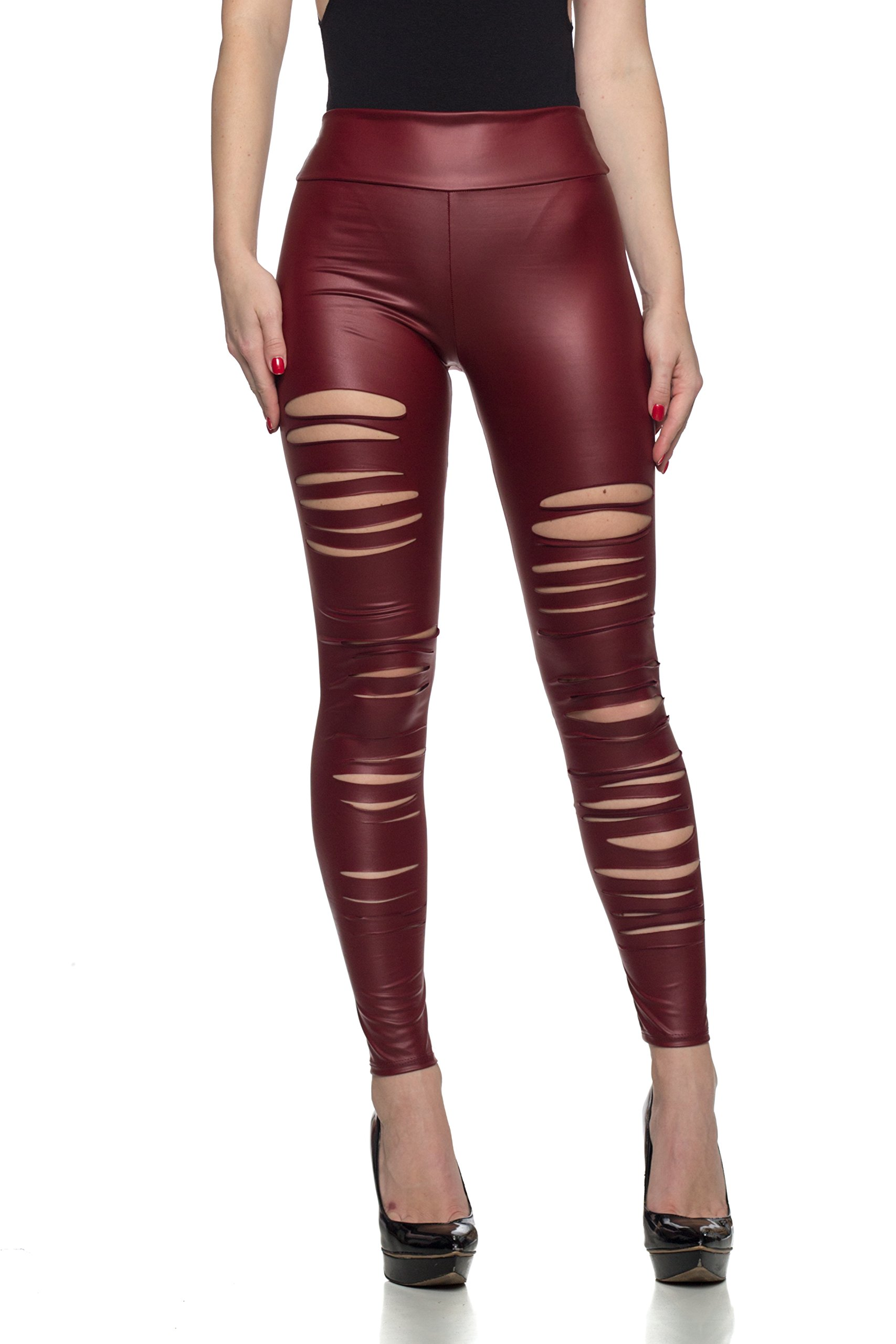 Women's J2 Love Faux Leather Ripped Legging, X-Small, Burgundy