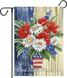 CHICHIC Garden Flag 4th of July Garden Flag God Bless America Garden Flag Double Sided Burlap Patriotic Welcome Yard Lawn Flags for 4th of July Decorations Outdoor Decor, 12.5X 18.5 Inch, Flower 1