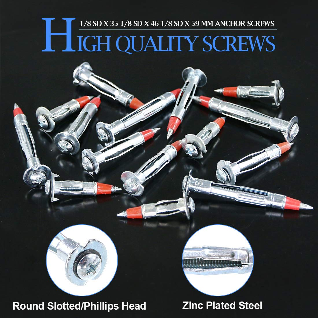 1//8SDx35MM Glarks 60Pcs Heavy Duty 1//8 inch 35MM Zinc Plated Steel Molly Bolt Drive Hollow Drive Wall Anchor Screws Set