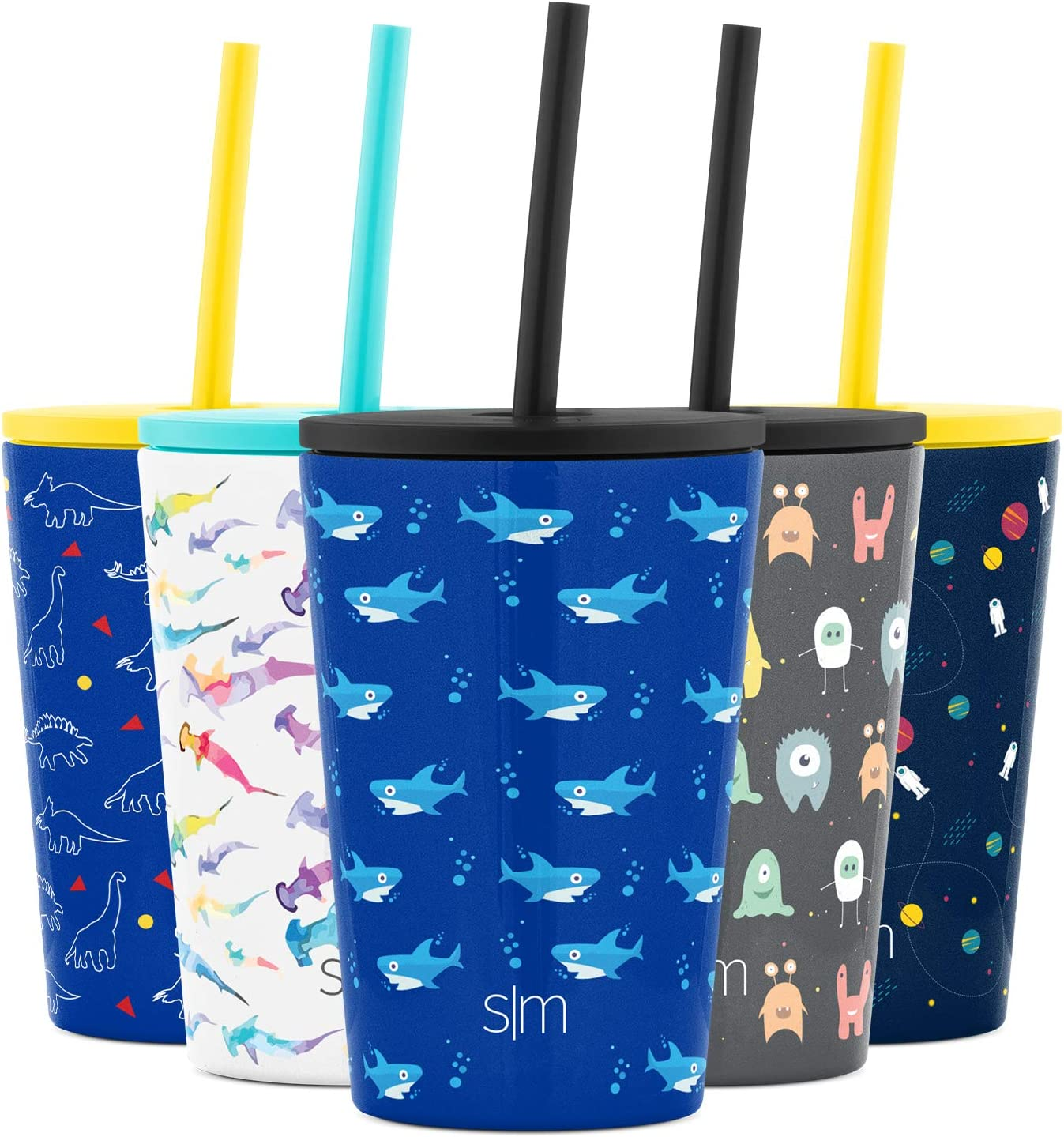 Simple Modern Kids Cup 12oz Classic Tumbler with Lid and Silicone Straw - Vacuum Insulated Stainless Steel for Toddlers Girls Boys Shark Bite