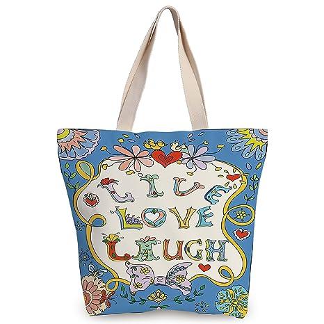 e9464c714686 iPrint Funky Canvas Tote Bag,Live Laugh Love Decor,Colorful Floral Fantasy  Design Frame