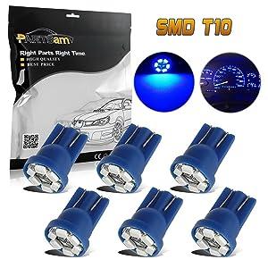 Partsam T10 194 2825 LED Light Bulb 168 LED Bulbs Bright Instrument Panel Gauge Cluster Dashboard LED Light Bulbs Set 6Pcs-Blue