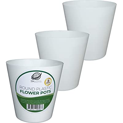 Set of 3 Round White Plastic Flower Pots: Garden & Outdoor