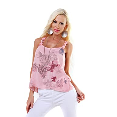 Italy Sommer Shirt Long Top mit Häkel Blumen Träger Tunika Floral coralle  S-M-L: Amazon.de: Bekleidung