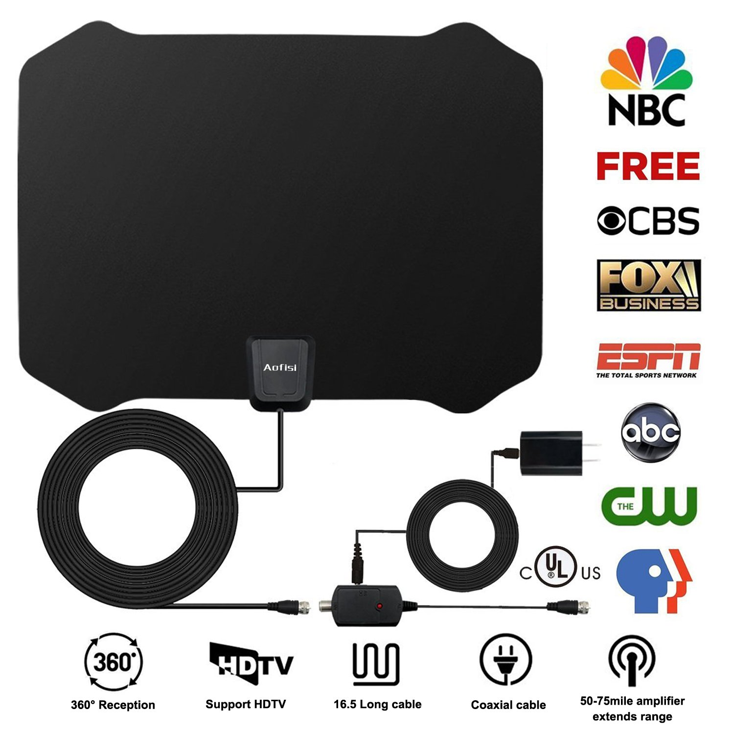 Aofosi 2018 Newest TV Antenna,Indoor Amplified Digital HDTV Antenna 60+ Mile Range with 4K 1080P HD VHF UHF Freeview TV for Life Local Channels Broadcast for All Types of Home Smart Television