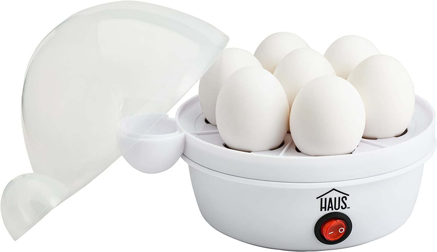 Haus HEC 44225 W Rapid Egg Cooker Buzzer Indicator Makes Hard Boiled, Poached, Scrambled Or Omelets, 7Eggs, White