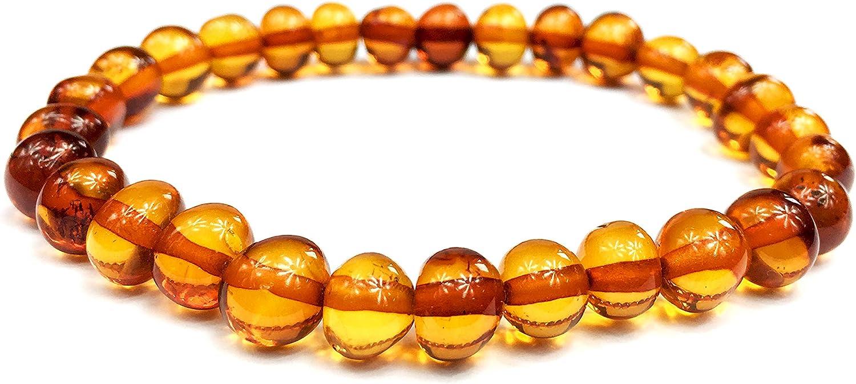 Pulsera de ámbar báltico para mujer y hombre, 18 cm, 100% más alta calidad, certificado de ámbar báltico auténtico/perlas de mayor tamaño