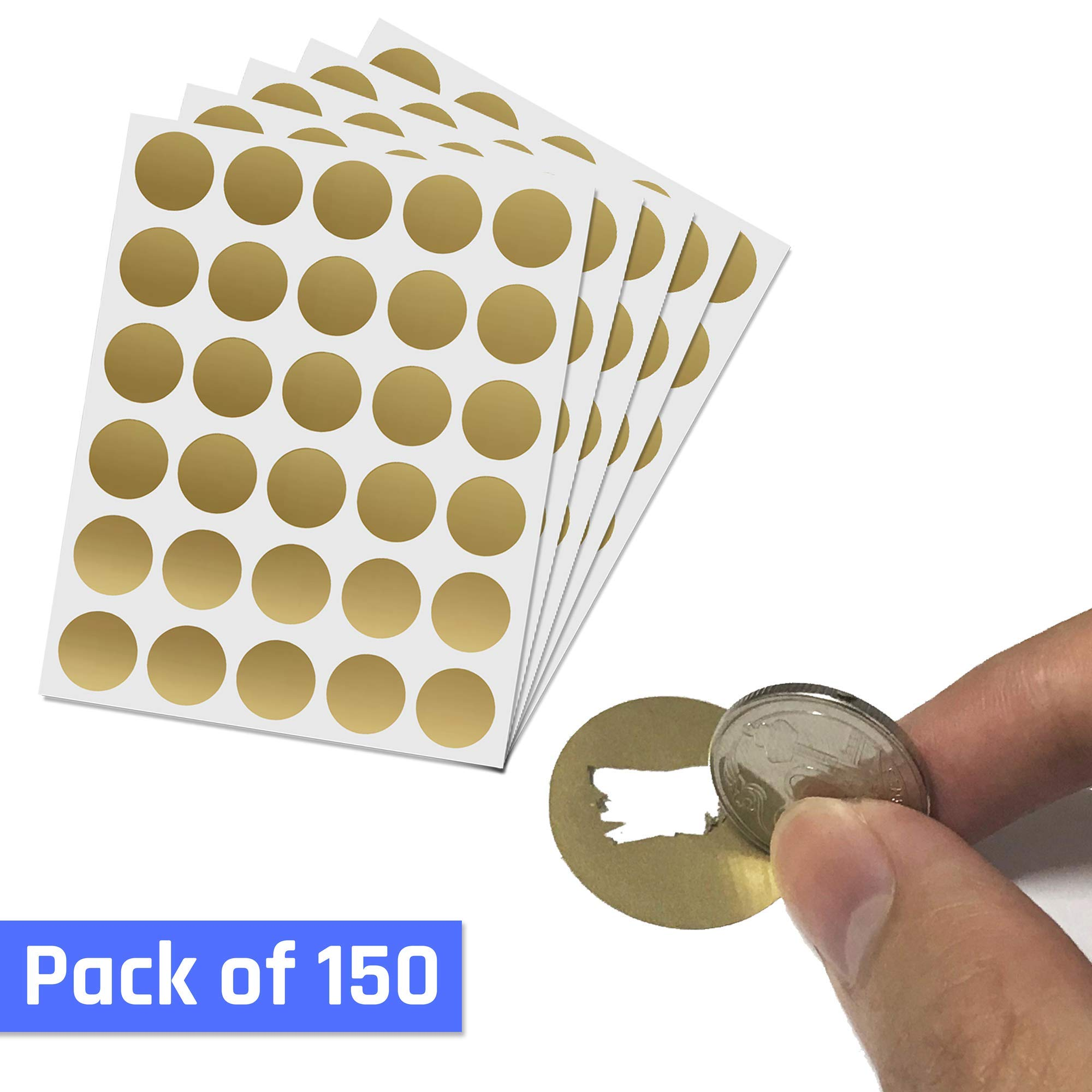 1'' Scratch Off Sticker Labels - Gold Round Circle, Pack of 150 by ScratchStix (Image #8)