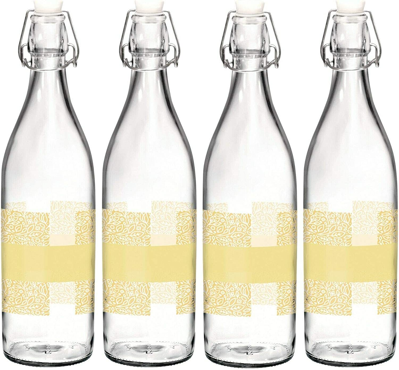Bormioli Rocco Giara - Botella de agua con tapa (1 L) amarillo: Amazon.es: Hogar