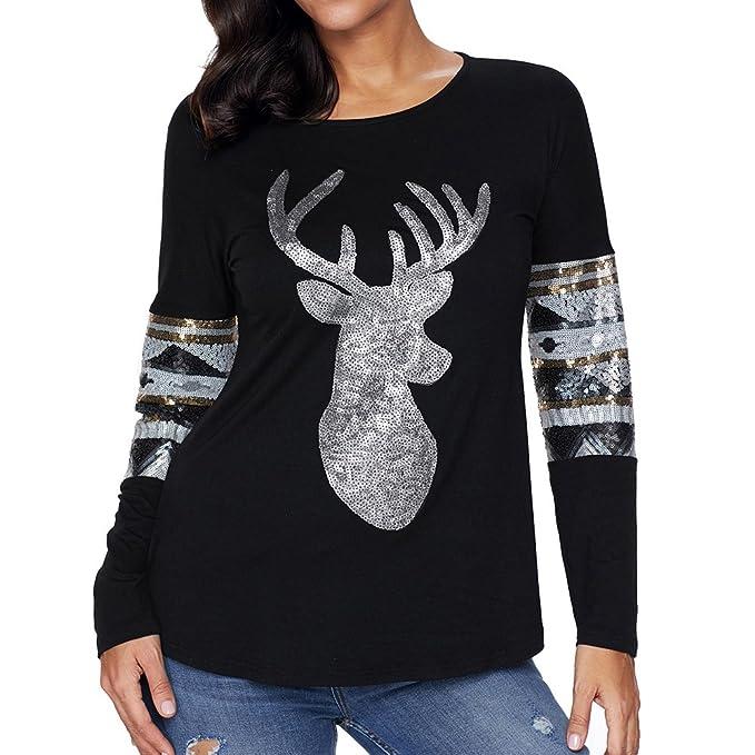 1e1e56ca524 SEBOWEL Ladies Christmas Reindeer Sequin Crew Neck Blouse Tshirt Pullover  Black S