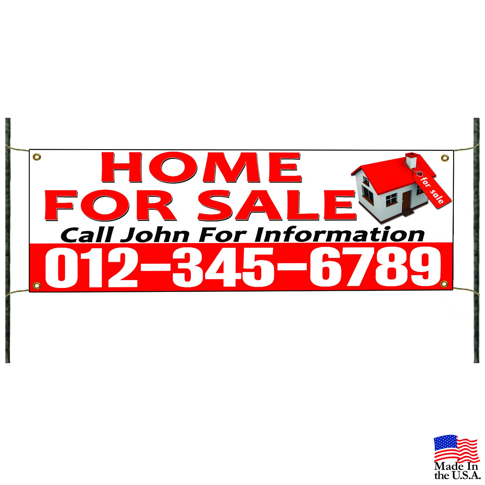 Home For Sale Call Name And Number Banner Sign Apartment Commercial Business Advertising