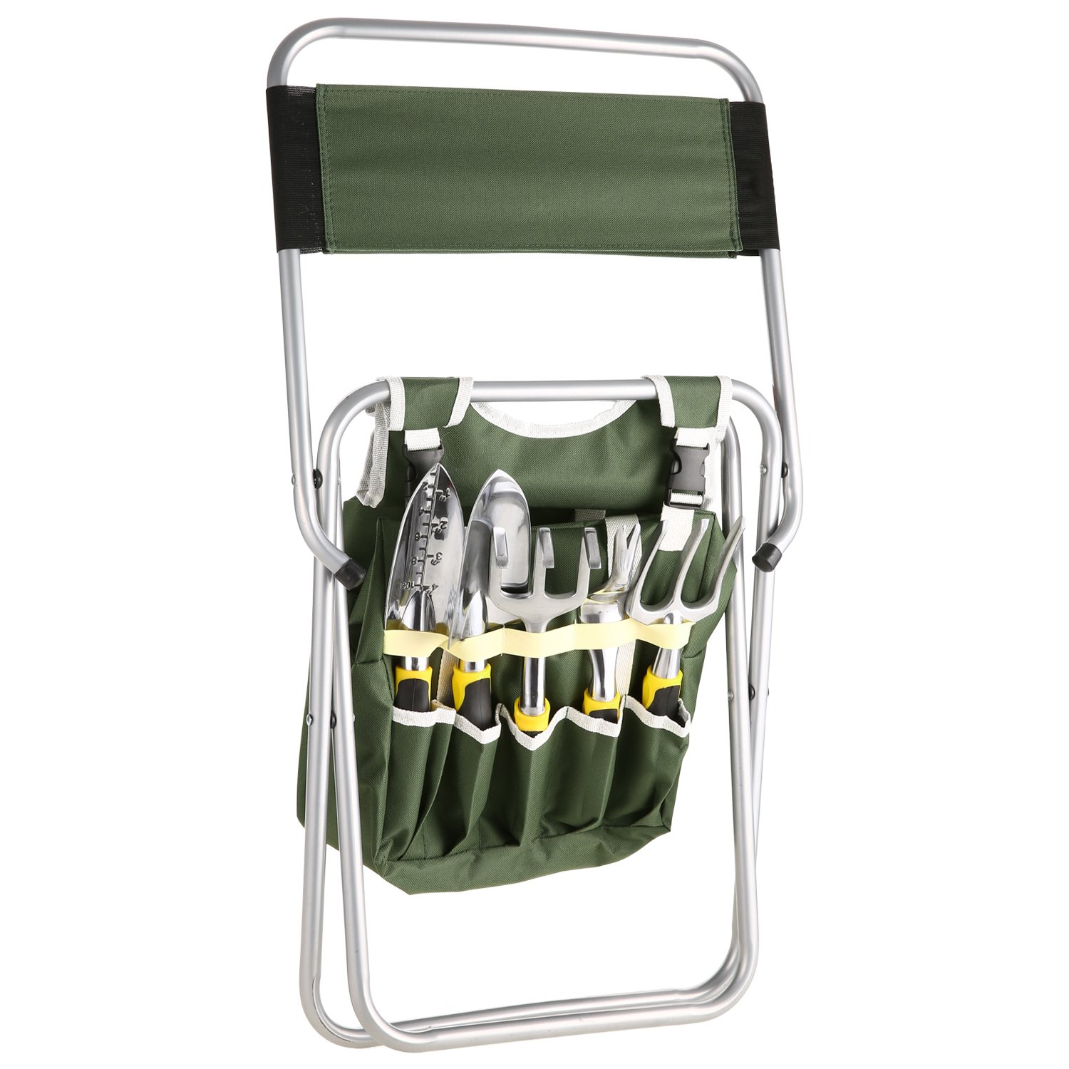 Moroly 10 Piece Garden Tool Set with 5 Sturdy Stainless Steel Tools,Heavy Duty Folding Seat Stool with Backrest,Detachable Canvas Tote,Best Gardening Gifts Tool Set by Moroly (Image #3)