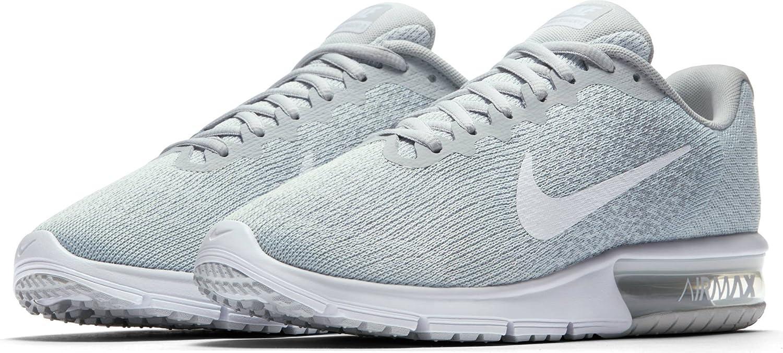 Ajuste clásico Nike Mujer Air Max Sequent 2 Zapatos para correr Pure Platinum/Blanco/Wolf Gris 238YV