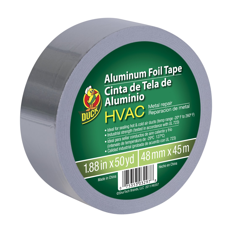 Duck Brand 240225 HVAC UL 723 Metal Repair Aluminum Foil Tape, 1.88-Inch by 50 Yards, Single Roll, Silver