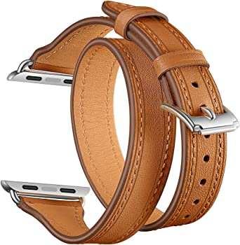 EloBeth Leather iWatch Band Compatible with Apple Watch Band 38mm 40mm
