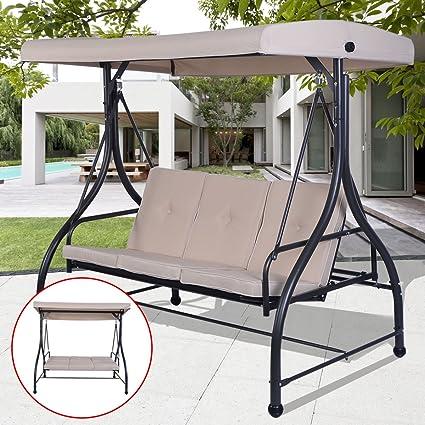 Amazon Com Beige Converting Bed Swing Hammock Chair Patio 3 Person